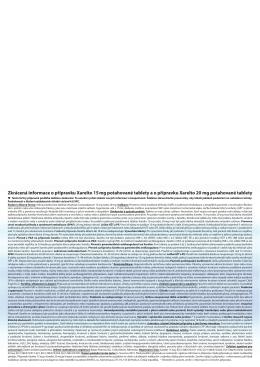 Zkrácená informace o přípravku Xarelto 15 mg
