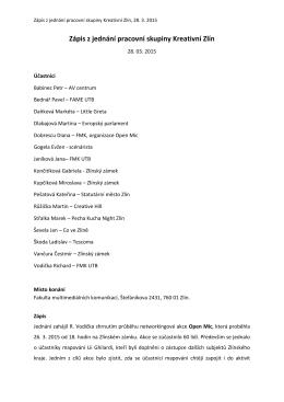 Zápis z jednání pracovní skupiny Kreativní Zlín