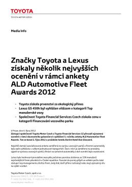 Značky Toyota a Lexus získaly několik nejvyšších ocenění v rámci