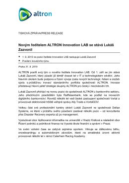 Novým ředitelem ALTRON Innovation LAB se stává Lukáš Zazvonil