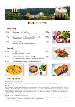 JÍDELNÍ LÍSTEK HOTELU KALIMETA (ke stažení ve formátu PDF)