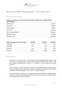 Zpráva portfolio managementu – 2. čtvrtletí 2015