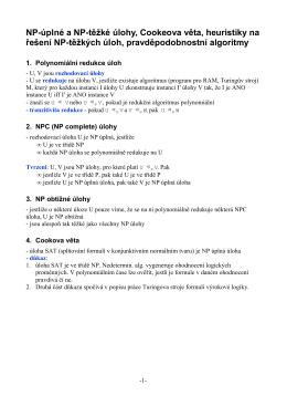 NP-úplné a NP-těžké úlohy, Cookeova věta, heuristiky na - OI-Wiki