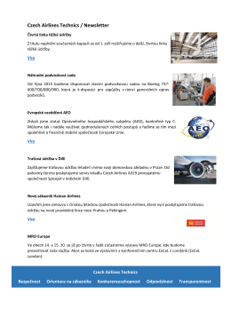 B2B newsletter 09/2015 - Czech Airlines Technics