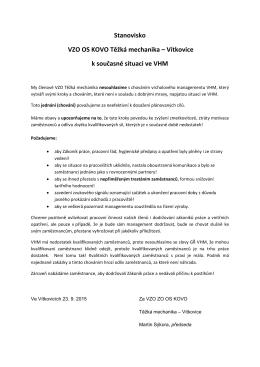 Stanovisko VZO OS KOVO Těžká mechanika – Vítkovice