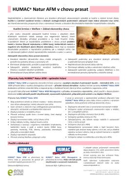 Přípravky řady HUMAC® Natur AFM v chovu