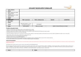 závazný rezervační formulář