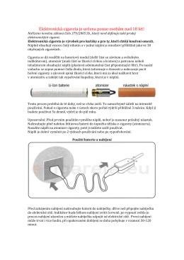 Elektronická cigareta je určena pouze osobám nad 18 let!