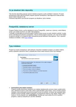 Co je obsahem této nápovědy PostgreSQL databázový server Typy