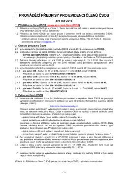 Prováděcí předpisy pro evidenci členů ČSOS 2016