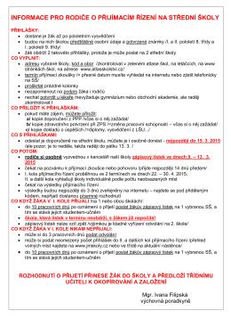 informace pro rodiče o přijímacím řízení na střední školy
