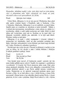 20.9. kázání J. Vettera O budoucím soudu Sk 24,24-25