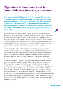 Big data a budoucnost českých firem: Odvaha, inovace