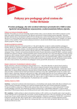 Informace pro pedagogy a rodiče