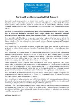 Prohlášení k prezidentu republiky Miloši Zemanovi