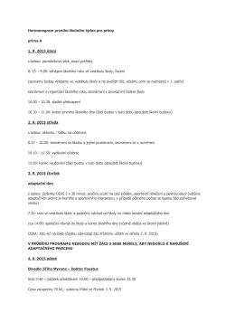 Harmonogram prvního školního týdne pro primy prima A 1. 9. 2015