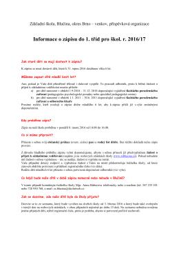 Informace k zápisu 2016-2017