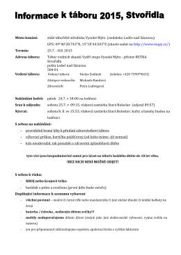 Informace k táboru 2015