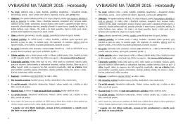 VYBAVENÍ NA TÁBOR 2015 - Horosedly VYBAVENÍ NA TÁBOR 2015