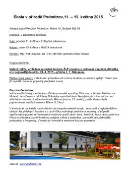 Škola v přírodě Podmitrov,11. – 15. května 2015