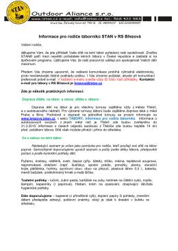 Informace pro rodiče táborníků STAN v RS Březová
