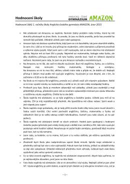 Hodnocení - Anglicko-české gymnázium AMAZON