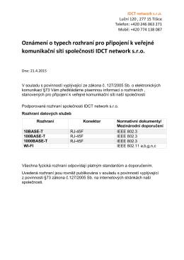 Oznámení o typech rozhraní pro připojení k veřejné komunikační síti