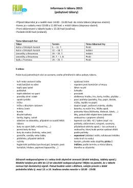 Informace k táboru 2015 (pobytové tábory)