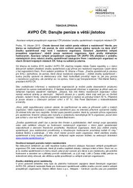 AVPO ČR: Darujte peníze s větší jistotou