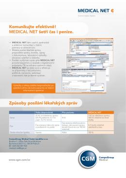 Komunikujte efektivně! MEDICAL NET šetří čas i peníze. Způsoby