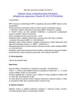 Minimální preventivní program 2014-2015