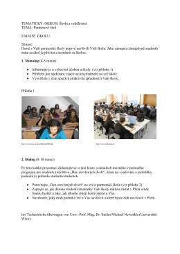 TEMATICKÝ OKRUH: Škola a vzdělávání TÉMA: Partnerství