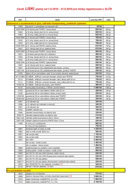 Ceník produktů 2016 - SC