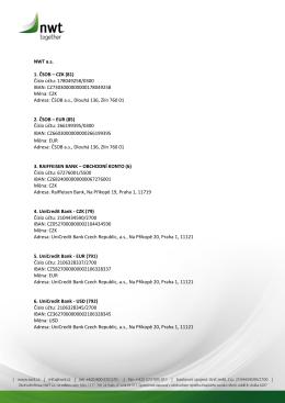 Souhrnný dokument všech bankovních spojení