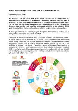 Přijali jsme nové globální cíle trvale udržitelného rozvoje
