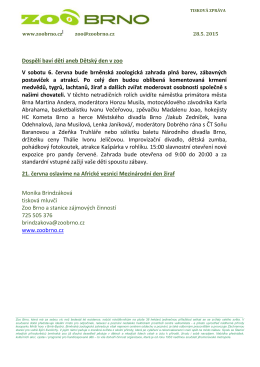 Tisková zpráva Zoo Brno 28. 5. 2015