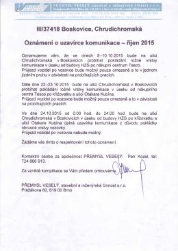 llll37 418 Boskovice, Ch rud ich romské Oznŕmení o uzavírce