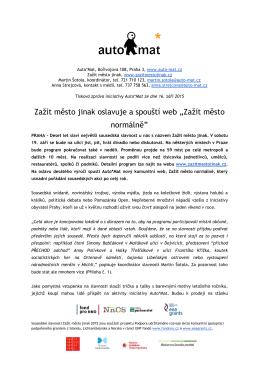 """16. 9. Zažít město jinak oslavuje a spouští web """"Zažít město normálně"""""""