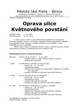 Informace pro občany městské části Praha – Benice