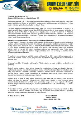 Omezení MHD v průběhu městské Super RZ