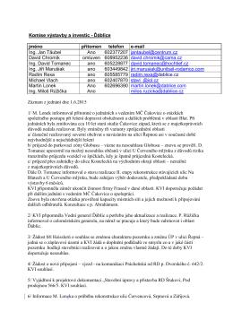 Zápis ze 6. jednání komise výstavby a investic dne 1.6.2015
