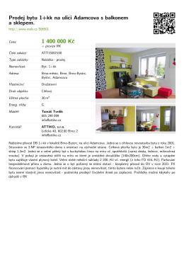 Prodej bytu 1+kk na ulici Adamcova s balkonem a