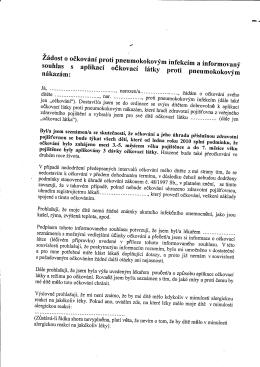 žádost o očkování proti pneumokokovým nákazám