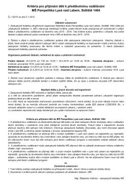 Kritéria pro přijímání dětí k předškolnímu vzdělávání MŠ Pampeliška