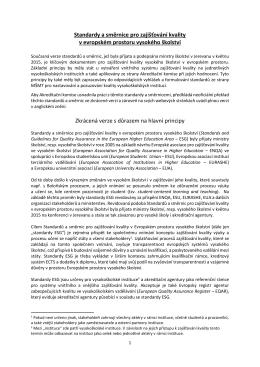 Standardy a směrnice zajišťování kvality v EHEA