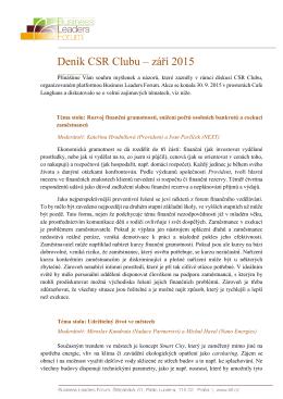 Deník CSR Clubu – září 2015