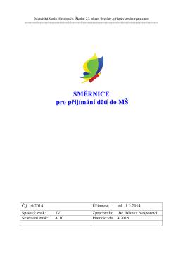 Směrnice pro přihlášení - Mateřská škola Pastelka Hustopeče