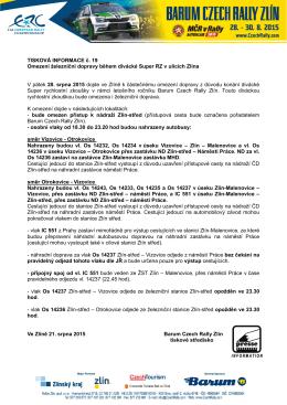 Omezení železniční dopravy během divácké Super RZ v ulicích Zlína