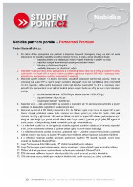 Nabídka partnera portálu – Partnerství Premium