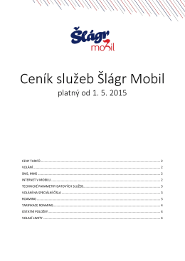 Ceník služeb Šlágr Mobil